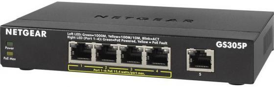 Коммутатор NETGEAR GS305P-100PES неуправляемый 5 портов 10/100/1000Mbps коммутатор netgear gs208 100pes 8 портов 10 100 1000mbps