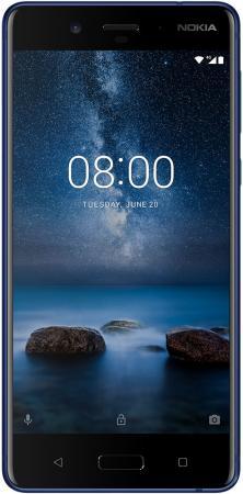 Смартфон NOKIA 8 синий 5.3 64 Гб LTE NFC Wi-Fi GPS 3G 11NB1L01A17 смартфон nokia 3 dual sim черный 5 16 гб lte wi fi gps nfc 11ne1b01a09
