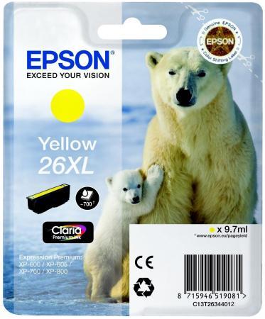 Картридж Epson C13T26344012 для Epson XP-600/700/800 желтый картридж cactus cs ept1634 для epson wf 2010 2510 2520 2530 2540 2630 2650 2660 желтый