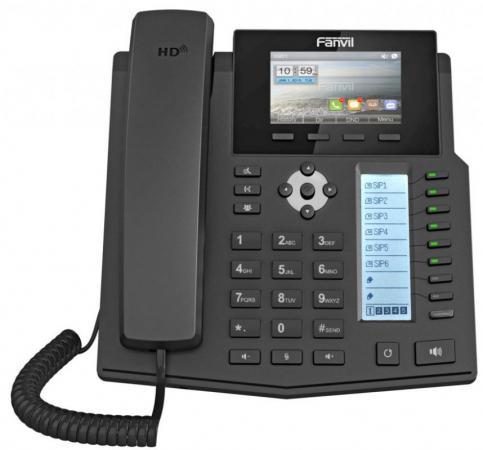 Телефон IP Fanvil X5S 6 линий 2x10/100/1000Mbps цветной LCD SIP PoE черный