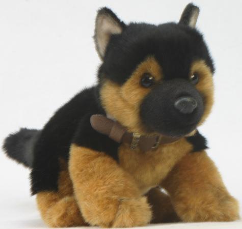 Мягкая игрушка щенок Hansa Щенок немецкой овчарки 25 см черный коричневый искусственный мех 3971