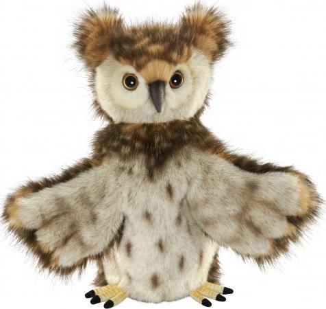 Мягкая игрушка сова Hansa на руку 34 см коричневый искусственный мех 7159