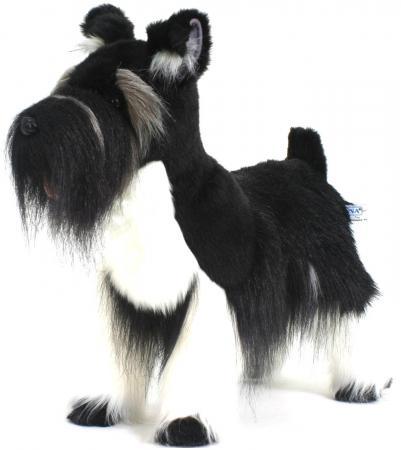 Мягкая игрушка собака Hansa Цвергшнауцер 45 см черный белый искусственный мех 5768