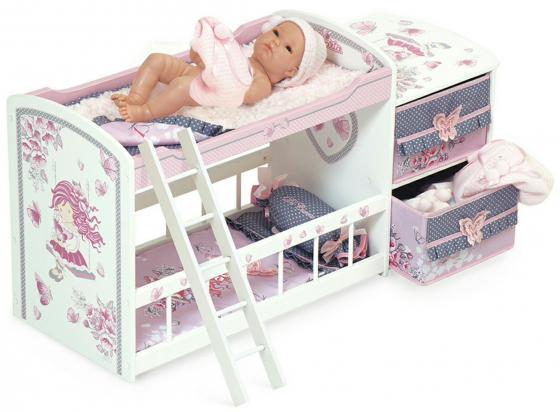 Кроватка для куклы DeCuevas двухъярусная серия Мария, 80 см 54317