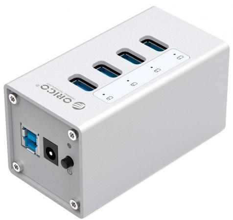Концентратор USB 3.0 Orico A3H4-SV 4 х USB 3.0 серебристый кабели orico кабель microusb orico adc 10