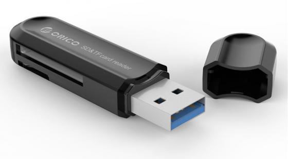 Картридер внешний Orico CRS21 USB3.0 microSD/SDHC/SDXC черный orico crs12 orange картридер