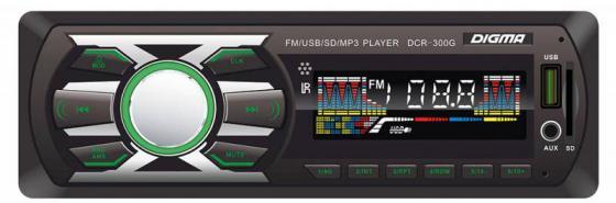 Автомагнитола Digma DCR-300G USB MP3 FM 1DIN 4x45Вт черный автомагнитола digma dcr 110g24 usb mp3 fm 1din 4x45вт черный