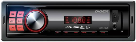 Автомагнитола Digma DCR-230R USB MP3 FM 1DIN 4x45Вт черный автомагнитола kenwood kmm 103gy usb mp3 fm 1din 4х50вт черный
