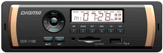 Автомагнитола Digma DCR-110B USB MP3 FM 1DIN 4x45Вт черный автомагнитола digma dcr 110b