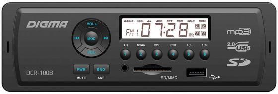 Автомагнитола Digma DCR-100B USB MP3 FM 1DIN 4x45Вт черный автомагнитола kenwood kmm 103ay usb mp3 fm 1din 4х50вт черный
