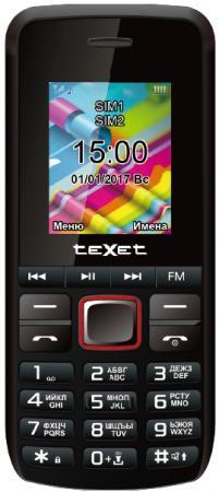 Мобильный телефон Texet TM-203 черный красный 1.77 texet tm b216 красный мобильный телефон