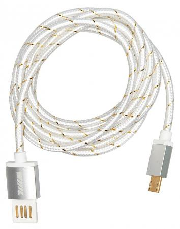 Кабель microUSB 1.5м Wiiix CB110-UMU-15S круглый серебристый кабели wiiix кабель переходник с кожаной оплеткой