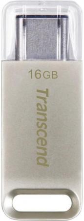 Флешка USB 16Gb Transcend Jetflash 850 OTG TS16GJF850S серебристый флешка usb 16gb transcend jetflash 750 usb3 0 ts16gjf750k черный