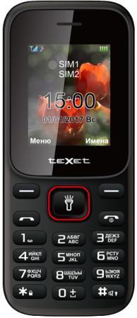 Мобильный телефон Texet TM-128 черный красный 1.77 мобильный телефон texet tm 504r black red черный красный tm 504r bkr