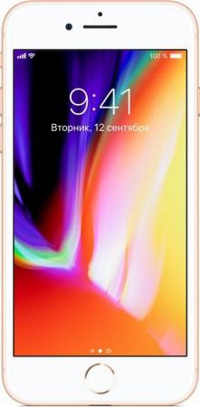Смартфон Apple iPhone 8 золотистый 4.7 64 Гб NFC LTE Wi-Fi GPS 3G MQ6J2RU/A смартфон apple iphone 8 64gb silver mq6h2ru a apple a11 2 gb 64 gb 4 7 1334x750 12mpix 3g 4g bt ios 11