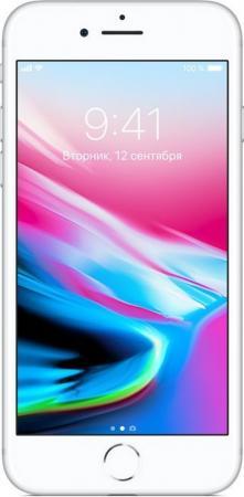 Смартфон Apple iPhone 8 серебристый 4.7 64 Гб NFC LTE Wi-Fi GPS 3G MQ6H2RU/A смартфон