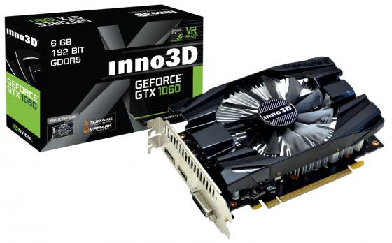 Фото Видеокарта 6144Mb Inno3D GeForce GTX 1060 Compact 2 PCI-E 192bit GDDR5 DVI HDMI DP N1060-6DDN-N5GM Retail pci e to
