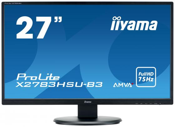 Монитор 27 iiYama X2783HSU-B3 черный A-MVA 1920x1080 300 cd/m^2 4 ms HDMI DisplayPort VGA Аудио USB монитор 27 benq ew2775zh черный a mva 1920x1080 300 cd m^2 4 ms g t g hdmi vga аудио