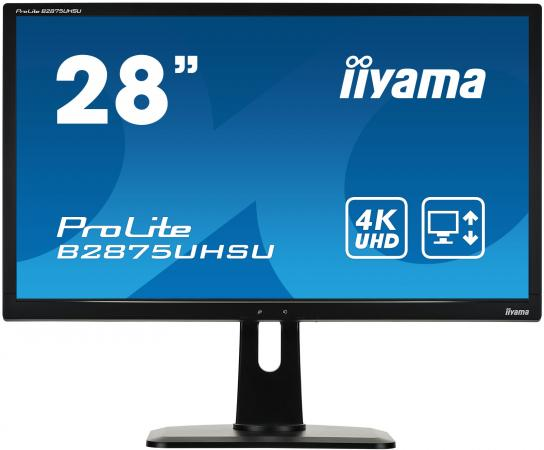 Монитор 28 iiYama B2875UHSU-B1 черный TN 3840x2160 300 cd/m^2 1 ms DVI HDMI DisplayPort VGA Аудио USB монитор lg 24ud58 b черный ips 3840x2160 250 cd m^2 5 ms g t g hdmi displayport