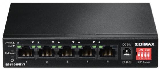 Коммутатор EDIMAX ES-5104PH V2 неуправляемый 5 портов 10/100Mbps 4x15W PoE as as 5104
