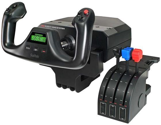 Контроллер игровой Logitech G Saitek PRO Flight Yoke System штурвал и блок рычагов для авиасимуляторов 945-000004 джойстик saitek saitek x52 pro flight system