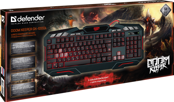 Клавиатура проводная Defender Werewolf GK-120DL USB черный цена и фото