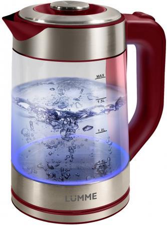 Чайник Lumme LU-133 2200 Вт красный гранат 2 л стекло чайник lumme lu 140 темный топаз 2200 вт 2 л стекло