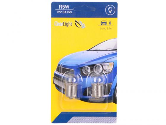 Лампа галогеновая R5W (Clearlight) 12V BA15S (блистер 2 шт.) лампа py21w clearlight 12v bau15s 2 шт