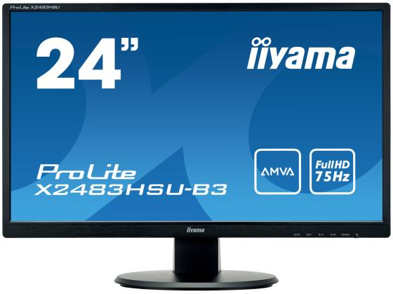 "Монитор 24"" iiYama X2483HSU-B3 черный VA 1920x1080 250 cd/m^2 1 ms VGA HDMI DVI-D HDCP Композитный вход USB iiyama gb2488hsu b2 24 черный dvi hdmi full hd"