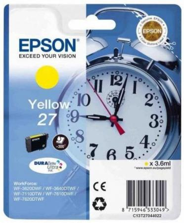 Картридж Epson C13T27044022 для Epson WF7110/7610/7620 желтый картридж epson yellow 27xl durabrite ultra for wf7110 7610 7620