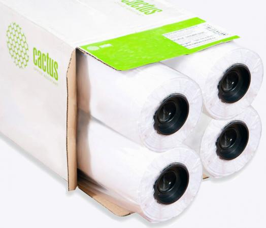 Бумага Cactus CS-LFP80-914457E-4 914мм х 45.7м 80г/м2 белый втулка 50.8мм 4шт