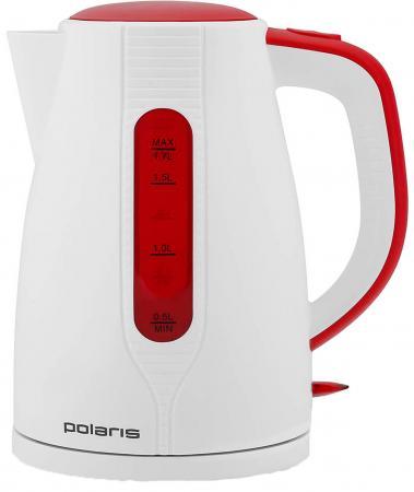 Купить со скидкой Чайник Polaris 1796C 2200 Вт белый красный 1.7 л пластик