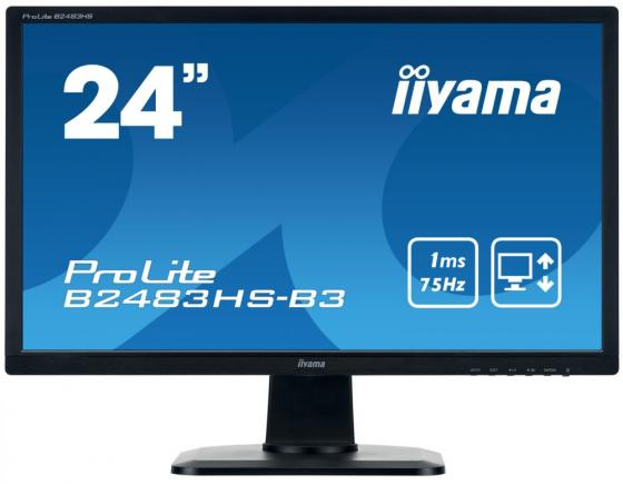 "все цены на Монитор 24"" iiYama ProLite B2483HS-B3 черный TN 1920x1080 250 cd/m^2 1 ms VGA DVI-D HDMI HDCP Аудио онлайн"