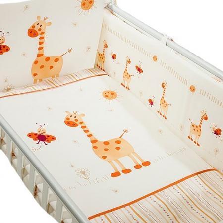Сменное постельное белье 3 предмета Перина Кроха Жирафики (бежевый) сменное постельное белье 3 предмета перина le petit bebe молочно кофейный