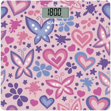 Весы напольные Scarlett SC-BS33E092 розовый рисунок scarlett sc bs33e070 girl on bike весы напольные
