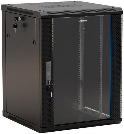 """Купить со скидкой Шкаф настенный 19"""" 4U Hyperline TWB-0445-GP-RAL9004  278x600х450мм стеклянная дверь с перфрацие"""