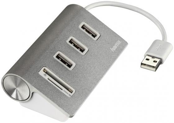 купить Концентратор USB 2.0 HAMA Kombi H-54142 3 x USB 2.0 серебристый по цене 760 рублей
