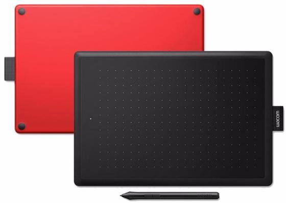 Купить со скидкой Графический планшет Wacom One CTL-472 USB черный/красный