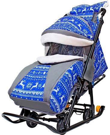 Санки-коляска Snow Galaxy LUXE Зимняя ночь Олени 6080 до 25 кг ткань металл синий серый рисунок черный snow galaxy санки коляска белая ночь