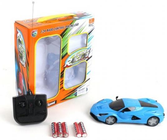 Машинка на радиоуправлении Shantou Gepai Super Racing голубой от 3 лет пластик, металл 4 канала, свет, 1:24 автотрек shantou gepai пульт управления длина трассы 179 см 2511