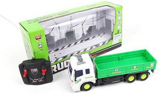 Машинка на радиоуправлении Shantou Gepai Грузовик с крановой установкой зелёный от 6 лет пластик 4 канала, свет военный автомобиль на радиоуправлении tongde в72398 пластик от 3 лет зелёный