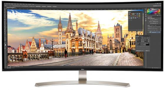 Монитор 38 LG 38UC99-W серебристый белый IPS 3840x1600 300 cd/m^2 5 ms HDMI DisplayPort USB Аудио lg lg ms 2342bs серебристый 800вт 23л