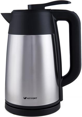 Чайник KITFORT KT-620-2 2200 Вт серебристый чёрный 1.7 л нержавеющая сталь чайник kitchenaid kten20sbob чёрный 1 9 л нержавеющая сталь