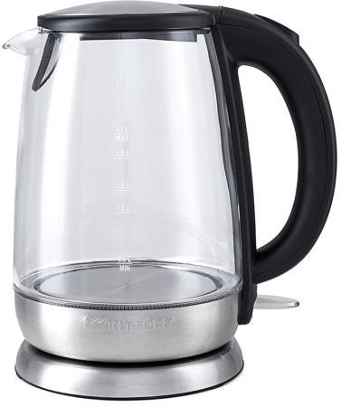 Чайник KITFORT КТ-619 2200 Вт серебристый чёрный 1.7 л стекло чайник starwind skg7650 2200 вт серебристый чёрный 1 7 л стекло