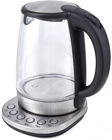 Чайник KITFORT КТ-618 2200 Вт серебристый чёрный 1.7 л стекло