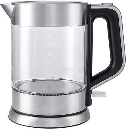 Чайник KITFORT KT-617 2200 Вт серебристый чёрный 1.5 л стекло чайник kitfort kt 620 1 2200 вт белый чёрный 1 7 л нержавеющая сталь