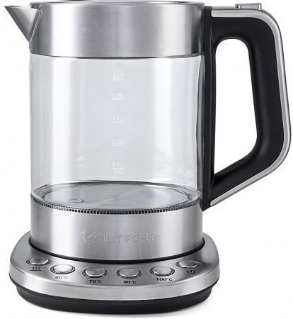 Чайник KITFORT KT-616 2200 Вт серебристый 1.5 л стекло чайник kitfort kt 620 1 2200 вт белый чёрный 1 7 л нержавеющая сталь