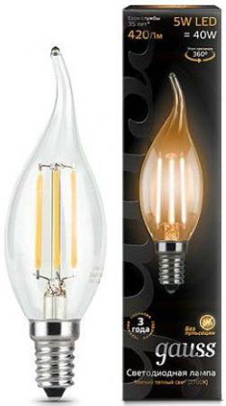 Лампа светодиодная Gauss E14 5W 2700K свеча на ветру прозрачная 1/10/50 104801105
