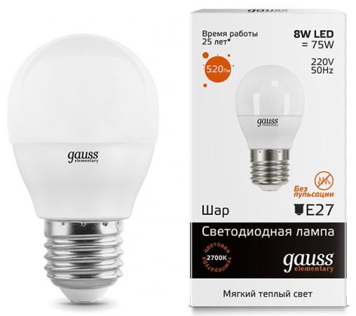 купить Лампа светодиодная шар Gauss Elementary Globe E27 8W 2700K 53218 онлайн