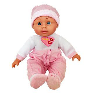 Пупс Shantou Gepai Сердечко 30 см со звуком в бело-розовом костюме толстовки и кофты